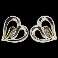 Sterling Silver Diamond Inset Two Tone Wavy Heart Stud EarRings   [QWQC]