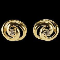 14K Diamond Inset Interlocking Circles Stud EarRings Yellow Gold  [QWQC]
