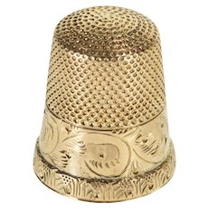 10K Ornate Scroll Etched Pitted Sewing Tool Thimble Yellow Gold  [QWXC]