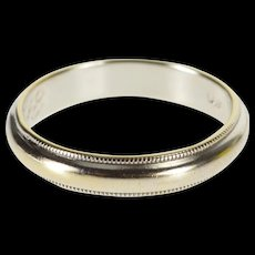 14K Classic Rounded Dot Milgrain Wedding Band Ring Size 6 White Gold [QWQC]