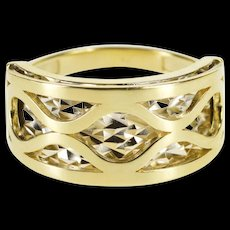 14K Two Tone Layered Look Geometric Design Band Ring Size 7 Yellow Gold [QWQC]