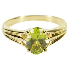 14K Oval Peridot Prong Solitaire Grooved Design Ring Size 5.5 Yellow Gold [QWXF]