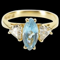 10K Marquise Blue Topaz Trillion Cubic Zirconia Ring Size 5 Yellow Gold [QWQC]