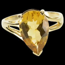 10K Pear Cut Citrine Solitaire Bypass Statement Ring Size 9 Yellow Gold [QWQC]