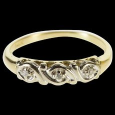 14K Retro Diamond Inset Wavy Design Wedding Band Ring Size 4.5 Yellow Gold [QWQC]
