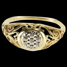 10K Round Diamond Inset Fancy Swirl Scroll Design Ring Size 6 Yellow Gold [QWQC]