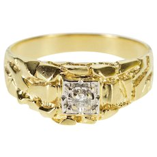 14K Diamond Inset Textured Nugget Design Men's Ring Size 10.75 Yellow Gold [QWXF]