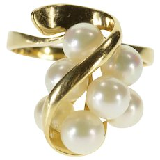 14K Pearl Cluster Wavy Overlay Cocktail Ring Size 9 Yellow Gold [QWQC]