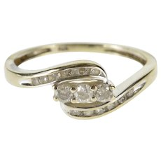 10K 0.15 Ctw Diamond Inset Bypass Engagement Ring Size 4.75 White Gold [QWXF]