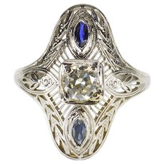 18K 0.45 Ctw Art Deco Diamond Sapphire Ornate Ring Size 6.25 White Gold [QWQC]