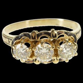 14K 1.50 Ctw Diamond Black Enamel Engagement Ring Size 8.75 Yellow Gold [QWXF]
