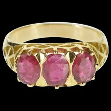 14K 1.83 Ctw Oval Ruby Ornate Three Stone Ring Size 7.25 Yellow Gold [QWQC]