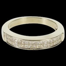 14K 0.57 Ctw Princess Diamond Channel Wedding Band Ring Size 7.25 White Gold [QWQC]