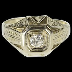 18K 0.33 Ct Art Deco Diamond Ornate Engagement Ring Size 8.25 White Gold [QWQC]