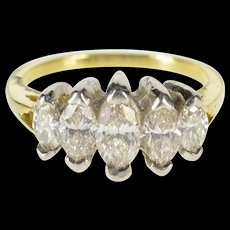 18K 1.33 Ctw Five Stone Marquise Diamond Band Ring Size 6.25 Yellow Gold [QWQC]
