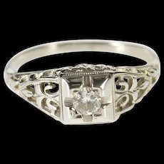 18K 0.14 Ct Art Deco Diamond Ornate Engagement Ring Size 6.25 White Gold [QWQC]