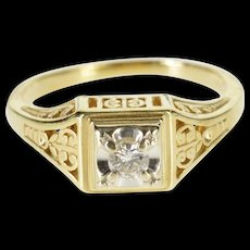 14K 0.15 Ct Ornate Scroll Diamond Engagement Ring Size 7.75 Yellow Gold [QWQC]