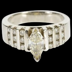 14K 1.34 Ctw Marquise Bar Diamond Inset Engagement Ring Size 7.5 White Gold [QWQC]