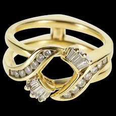 14K 0.58 Ctw Hinged Bypass Diamond Wedding Band Ring Size 7 Yellow Gold [QWQC]