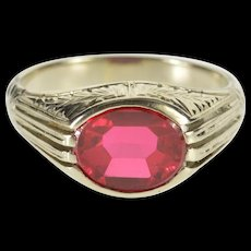 14K Ornate Scroll Etched Syn. Ruby Retro Statement Ring Size 9 White Gold [QWQC]
