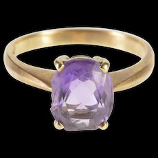 14K Oval Amethyst Solitaire Prong Set Ring Size 6.75 Yellow Gold [QWQC]