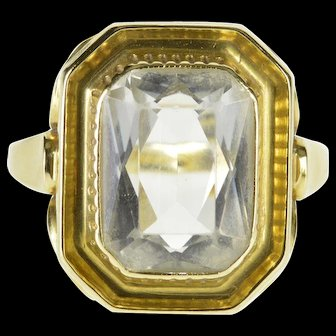 14K Brilliant Cut Syn. Aquamarine Solitaire Ring Size 6.25 Yellow Gold [QWXF]