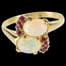 10K Oval Syn. Opal Syn. Ruby Bypass Freeform Ring Size 6.75 Yellow Gold [QWQC]