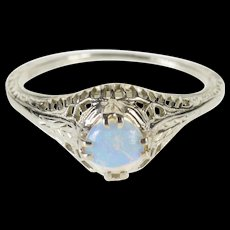 18K Filigree Syn. Opal Alternative Engagement Ring Size 4.75 White Gold [QWXF]
