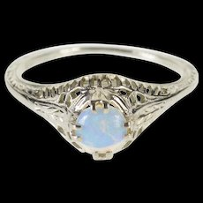 18K Filigree Syn. Opal Alternative Engagement Ring Size 4.75 White Gold [QWQC]