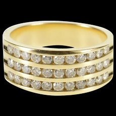 14K 1.00 Ctw Tiered Channel Design Wedding Band Ring Size 6.75 Yellow Gold [QWXF]