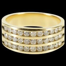 14K 1.00 Ctw Tiered Channel Design Wedding Band Ring Size 6.75 Yellow Gold [QWQC]