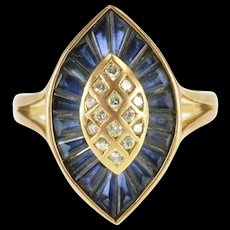 18K 2.14 Ctw Baguette Sapphire Diamond Pointed Oval Ring Size 7 Yellow Gold [QWXF]