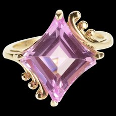 10K Fantasy Cut Pink Topaz Freeform Bypass Ring Size 6.75 Yellow Gold [QWXF]