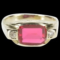 14K Syn. Ruby Diamond Accent Three Stone Ornate Ring Size 8 White Gold [QWXF]