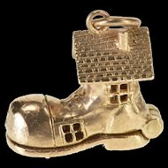 9K Articulated Old Lady Shoe House Nursery Rhyme Charm/Pendant Yellow Gold  [QRXK]