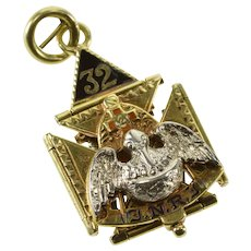 14K Articulated Masonic 32nd Degree Opening Charm/Pendant Yellow Gold  [QWXF]