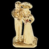 14K 3D Articulated Bride Groom Married Couple Charm/Pendant Yellow Gold  [QRXK]