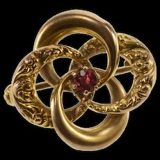 10K Victorian Scroll Pattern Swirl Red Glass Inset Pin/Brooch Yellow Gold  [QWQC]