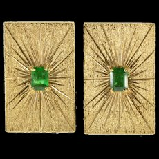 18K 0.60 Ctw Emerald Burst Pitted Textured Ornate Cuff Links Yellow Gold  [QWXF]