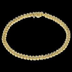 "14K 2.00 Ctw Diamond Inset Wavy Link Tennis Bracelet 7.25"" Yellow Gold  [QWXF]"