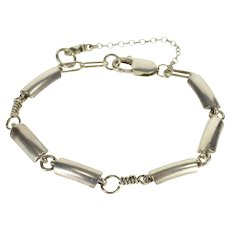 """Sterling Silver Georg Jensen Curved Rounded Bar Link #407 Bracelet 7.25""""   [QWXF]"""