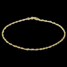 "14K Rolling Curb Link Twist Chain Anklet Bracelet 9"" Yellow Gold  [QWXF]"