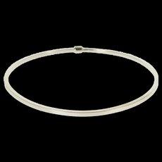 "14K Squared Simple Classic Round Bangle Bracelet 7.5"" White Gold  [QWXF]"