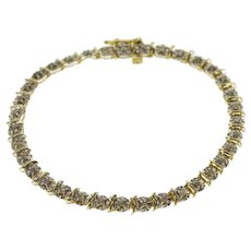 Vintage 10k Gold Bismarck Link Bracelet With Red Garnets