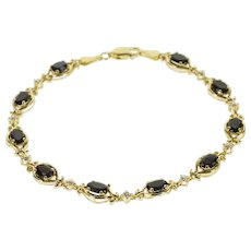 "14K Black Onyx Oval Diamond Accented Sapphire Bracelet 7.3"" Yellow Gold  [QWQC]"