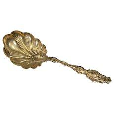 "Sterling Silver Scalloped Ornate Design Serving Spoon Fine Silver 9.1""   [QRXC]"