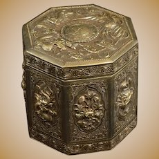 Sterling Silver Ornate Chinese Motif Hinged Tea Caddy Fine Silver   [QRXF]