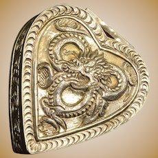 Sterling Silver Chinese Dragon Motif Ornate Heart Box Fine Silver   [QRXF]