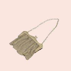 Sterling Ornate Scroll Design Mesh Purse Handbag Fine Silver   [QRXF]