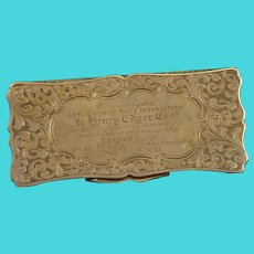 Sterling 1841 Engraved Etched Scroll Hinged Box Fine Silver   [QRXF]